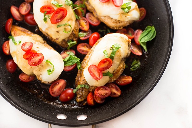 One Pan Chicken Bruschetta | This one pan chicken bruschetta is fresh, flavorful, healthy, and ready in just 25 minutes! | A Sweet Pea Chef