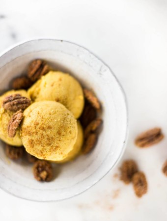 Fresh Pumpkin Ice Cream | Smooth, creamy, sweet, vegan, and clean eating pumpkin ice cream. So much goodness. | A Sweet Pea Chef