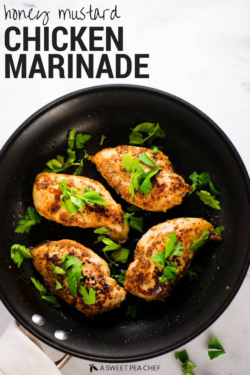 Honey Mustard Chicken Marinade | Spice up boring chicken with this delicious and healthy honey mustard chicken marinade.  The perfect solution for how to make moist chicken! | A Sweet Pea Chef