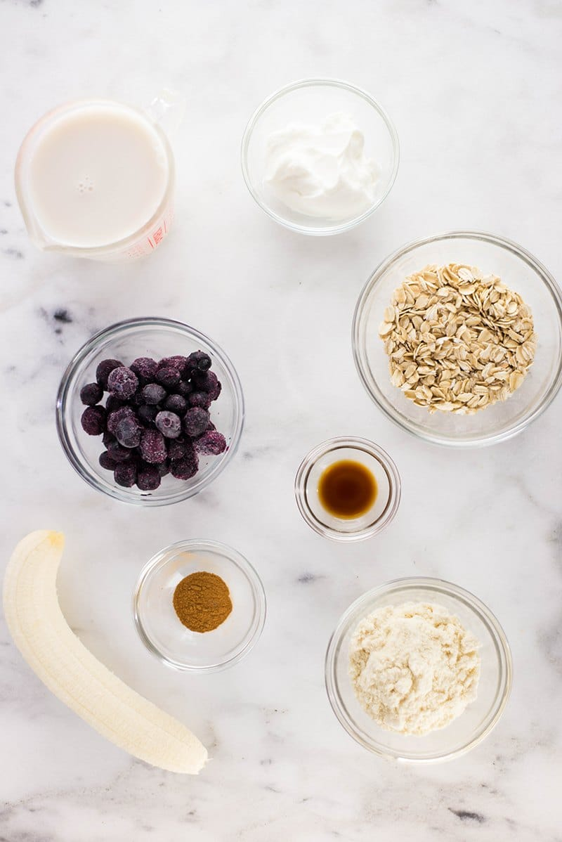 Blueberry Muffin Protein Smoothie | All the tasty flavors of a blueberry muffin wrapped up in a quick, high-protein breakfast shake. | A Sweet Pea Chef