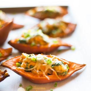 Healthy Baked Sweet Potato Skins | A new healthy take on a favorite appetizer. | A Sweet Pea Chef