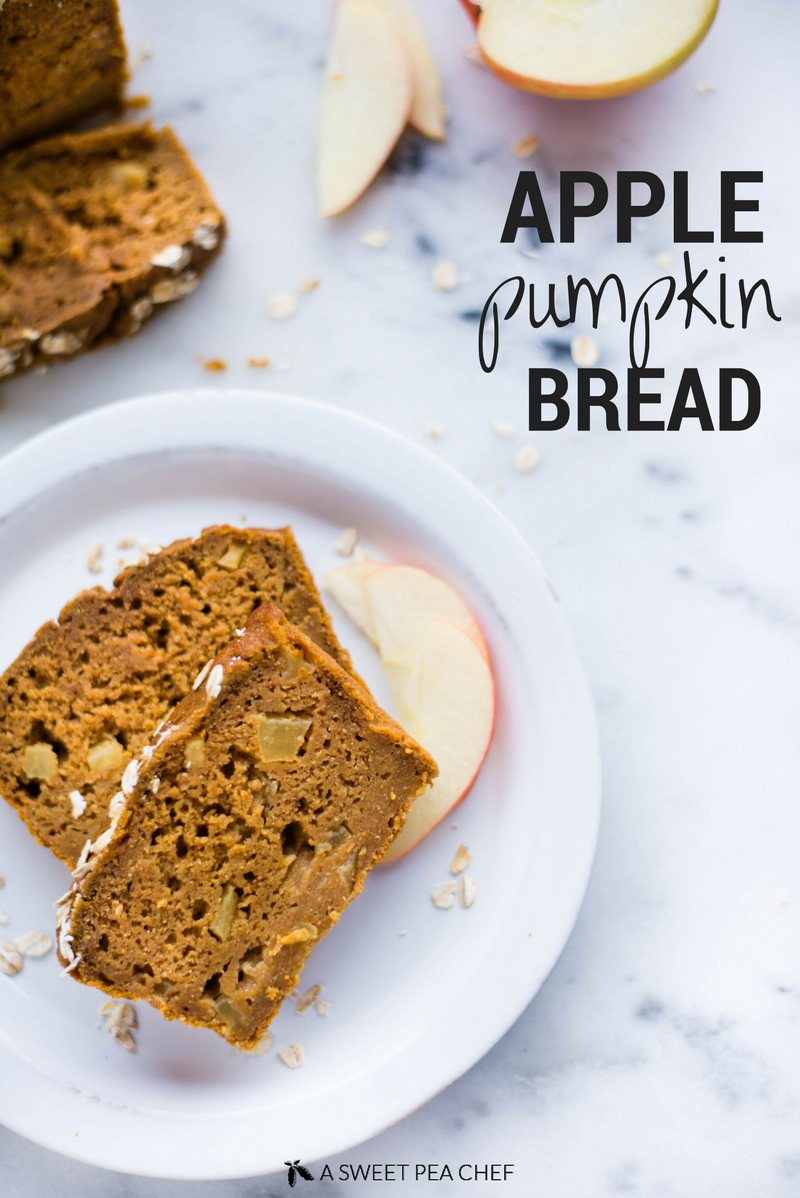 Apple Pumpkin Bread | This easy and healthy Apple Pumpkin Bread is perfect for Fall.  Make the most of your clean eating lifestyle and make this delicious homemade apple pumpkin bread recipe using whole, unrefined ingredients! | A Sweet Pea Chef