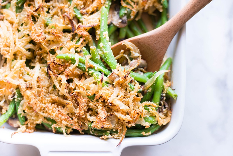 Healthy Green Bean Casserole | Healthy, easy, delicious, and so much better than the original! | A Sweet Pea Chef