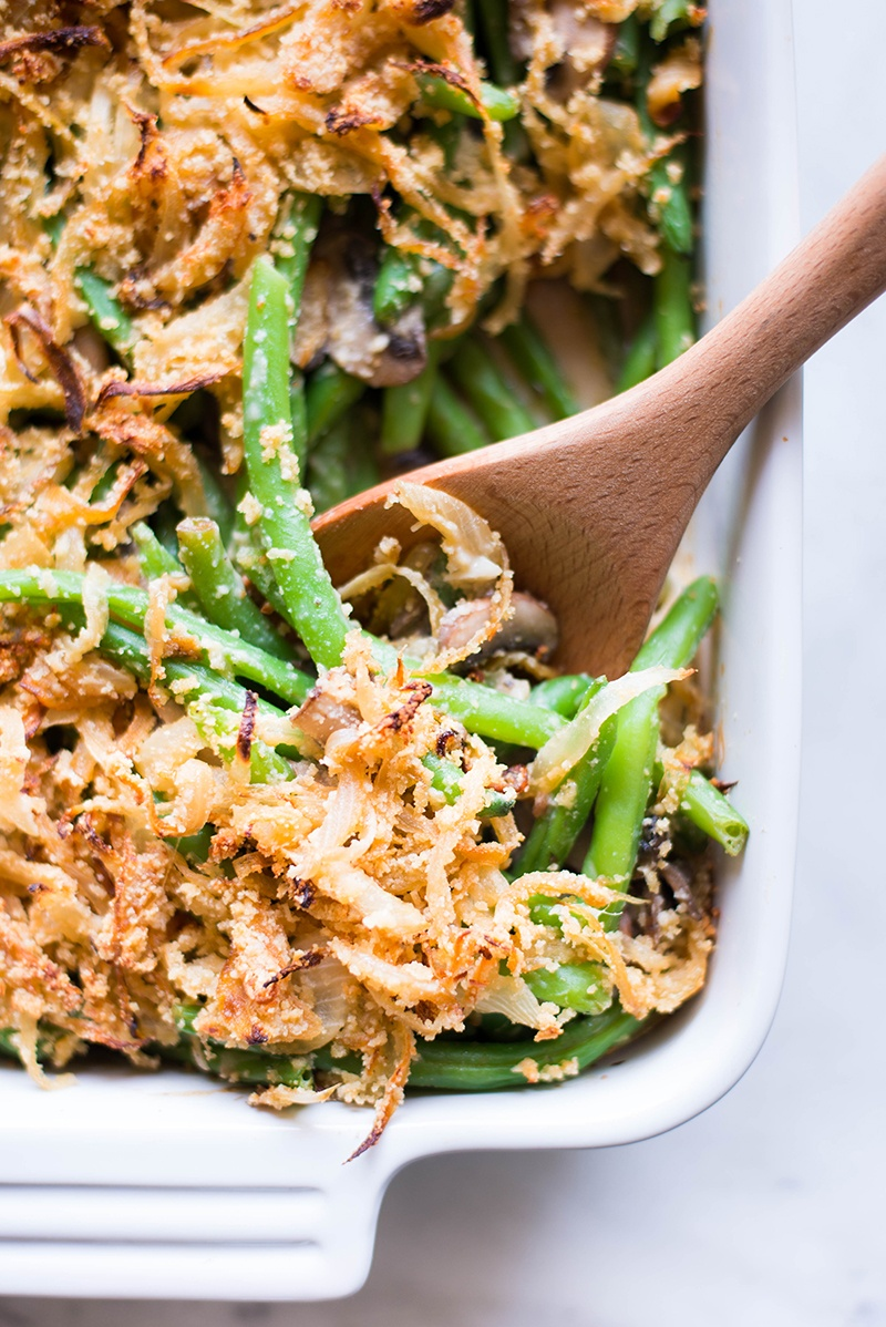 Healthy Green Bean Casserole | Healthy, easy, delicious, and so much better than the original - the perfect Thanksgiving side! | A Sweet Pea Chef