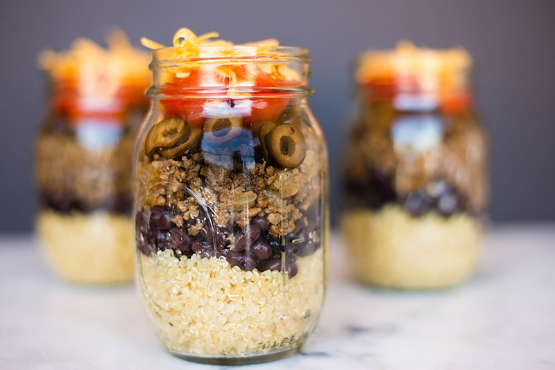 Quinoa Taco Stackers | All the goodness of tacos stacked up neatly in a grab and go mason jar. | A Sweet Pea Chef