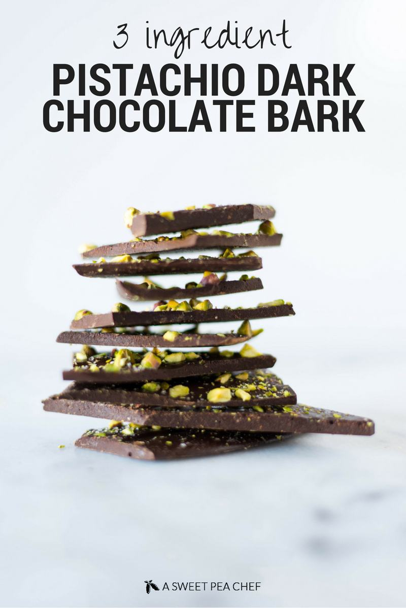 3 Ingredient Pistachio Dark Chocolate Bark   Save your $$$ on those high end dark chocolate bars and make your own at home for way cheaper!   A Sweet Pea Chef
