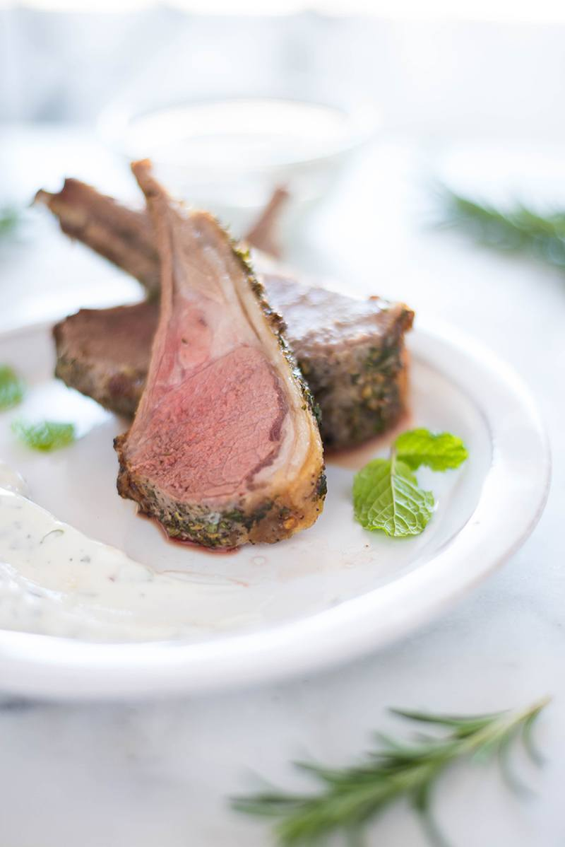 Rack of Lamb with Yogurt Mint Sauce | A shockingly easy dinner that's also impressive. | A Sweet Pea Chef #ad