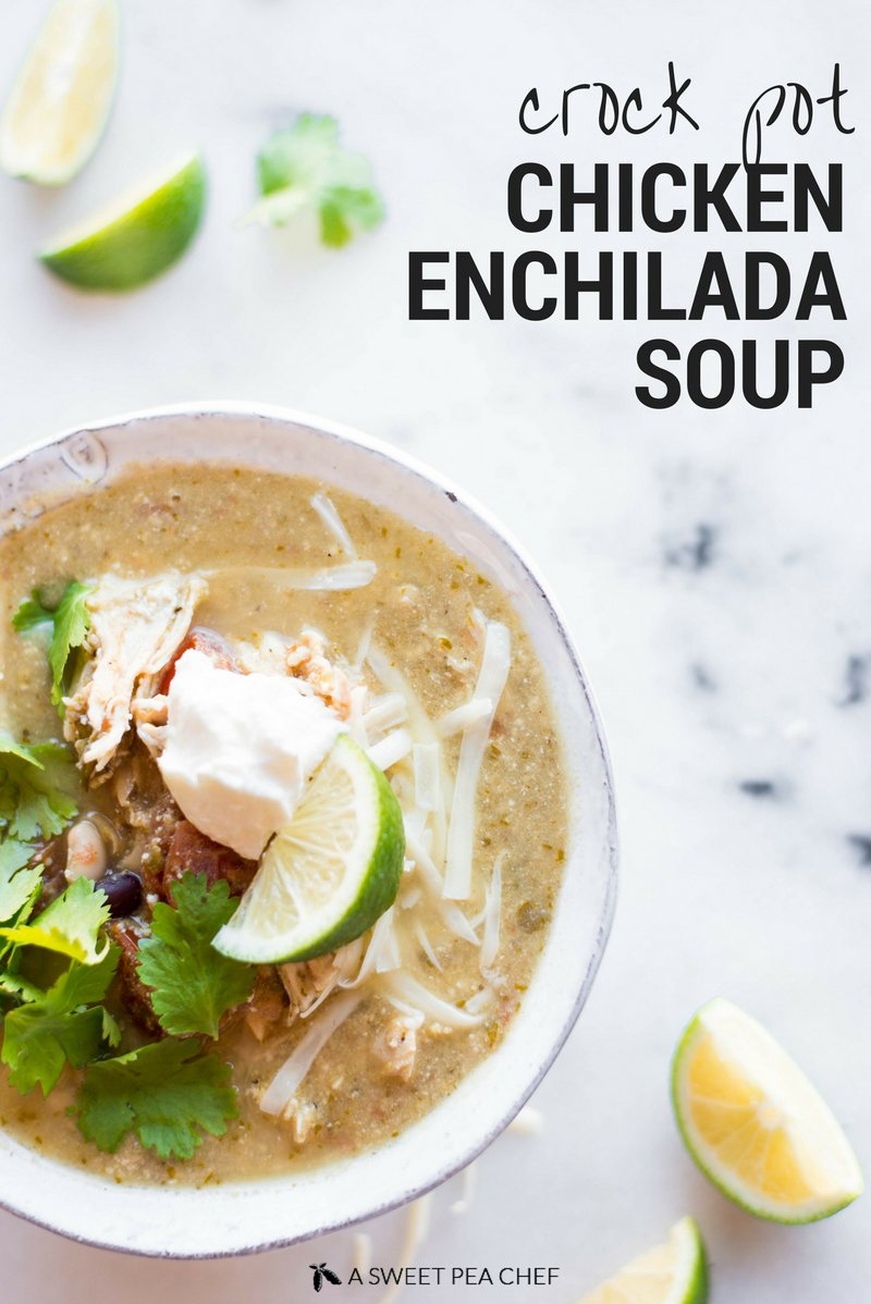 This extra-flavorful Crock Pot Chicken Enchilada Soup is so quick to put together. It's a clean-eating, gluten-free meal that will have you coming back for seconds every time!