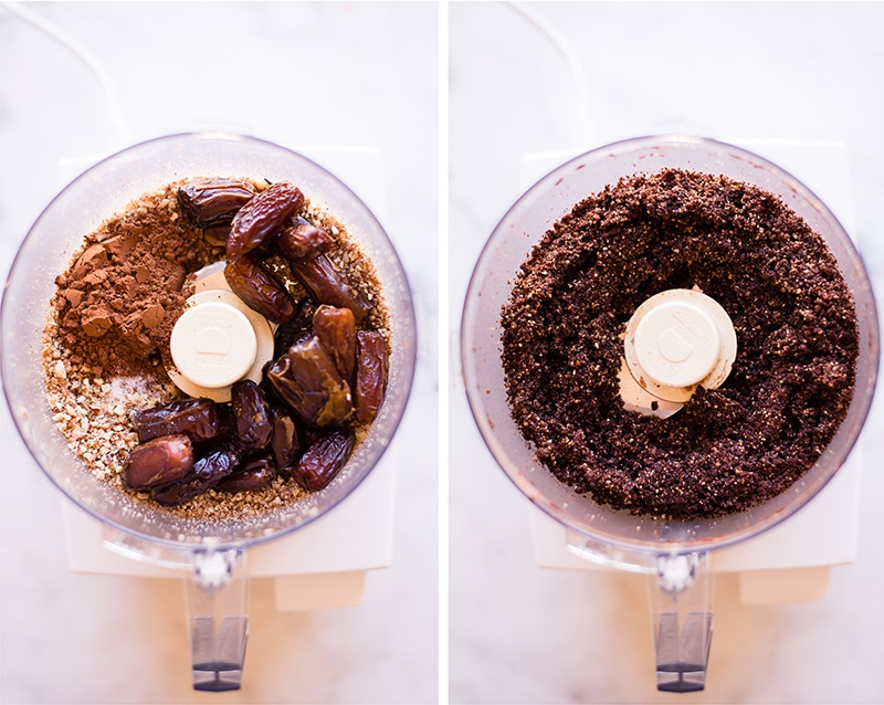 Before and after shot of a food processor to show the chopped pecans, dates, cocoa powder, and sea salt that go into the mini cheesecake crust and then, on the right, what the crust looks like for the mini cheesecakes.