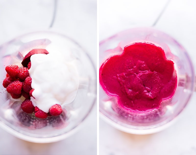 Before and after shots of overhead a kitchen blender to show the greek yogurt, beets, raspberries, lemon juice, and coconut milk for the filling of the raspberry beet mini cheesecake and then, on the right, the smooth, blended pink filling for the mini cheesecake recipe.