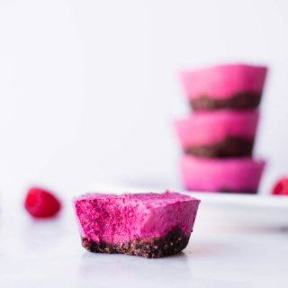 Raspberry Beet Mini Cheesecakes with Dark Chocolate Pecan Crust | The perfect sweet treat for your Valentine and dairy-free, too! | A Sweet Pea Chef #sponsored