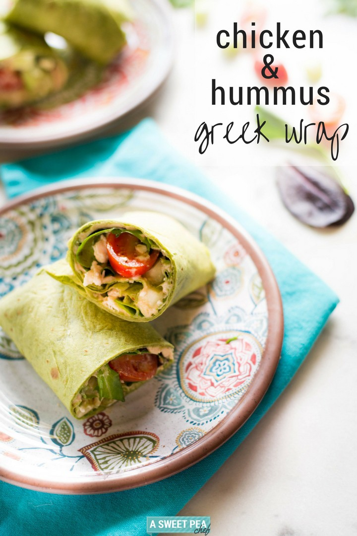 35 Easy Chicken Recipes - Chicken & Hummus Greek Wrap