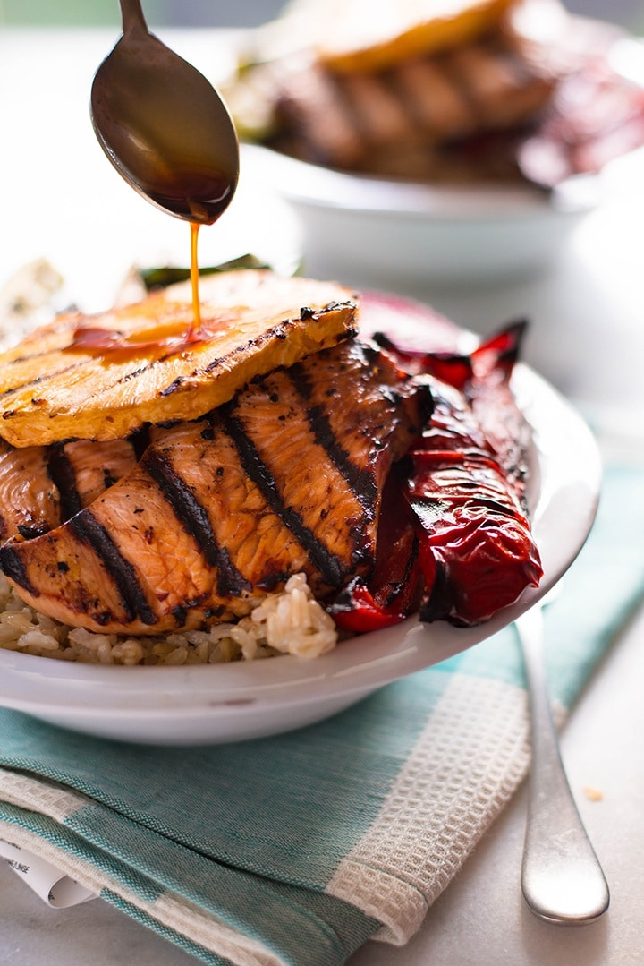 Grilled Hawaiian Turkey Teriyaki Bowl   So many delicious flavors and agreat start to the grilling season   A Sweet Pea Chef #ad