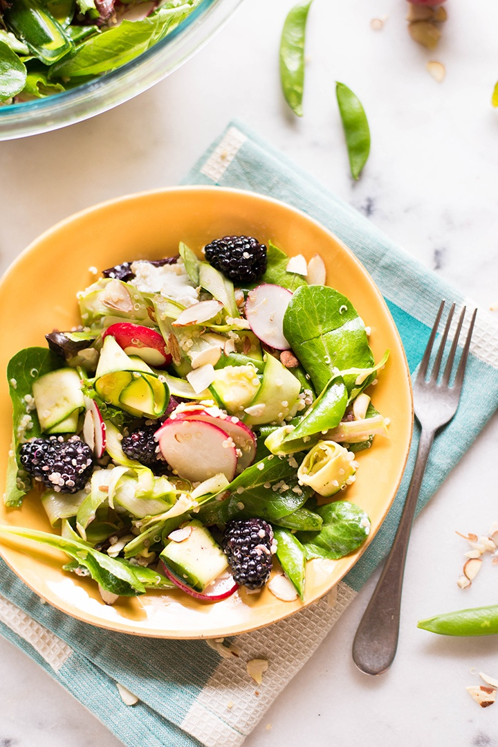 Spring Grains + Greens Salad with Honey Lemon Vinaigrette | Day 1 of our free Spring Into Health Lunch Challenge is here! | A Sweet Pea Chef