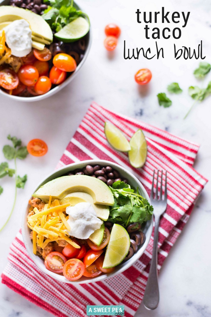 Turkey Taco Lunch Bowl | Day 4 of our free Spring Into Health Lunch Challenge is here! | A Sweet Pea Chef