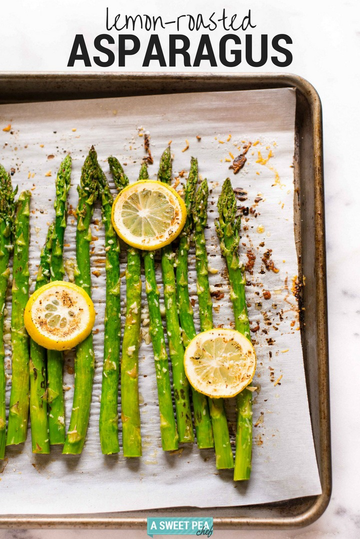 Lemon Roasted Asparagus | This roasted asparagus with lemon recipe is so easy and makes the perfect veggie side. | A Sweet Pea Chef