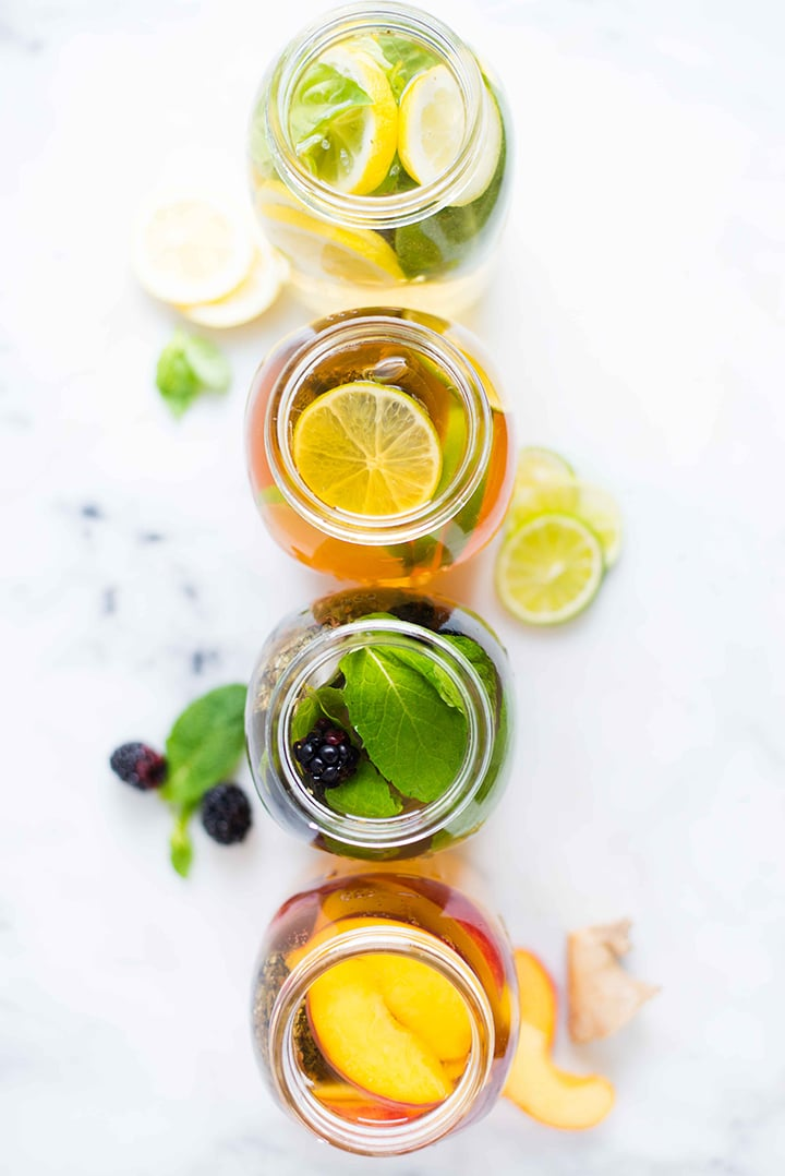 4 Healthy Iced Tea Recipes For Summer | Coconut Lime Iced Tea, Blackberry Mint Iced Tea, Peach Ginger Iced Tea, and Lemon Basil Iced Tea | A Sweet Pea Chef