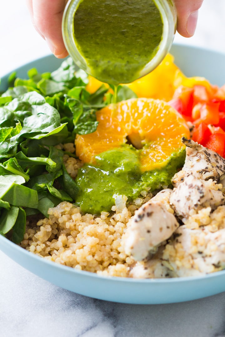What would you say if I told you that 30 minutes from now you could be holding this amazing Instant Pot Quinoa Chicken Bowl in your hand?
