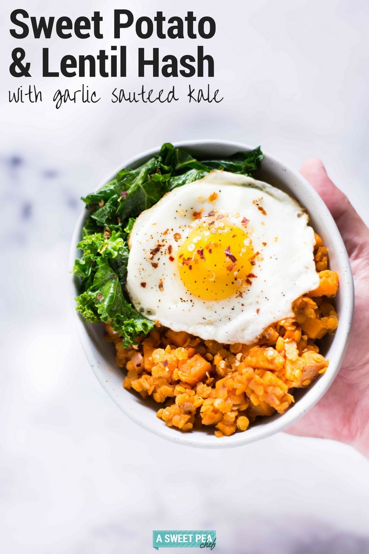 Sweet Potato And Lentil Hash with Garlic Sauteed Kale | An easy, savory, and healthy lentil hash bowl to enjoy for breakfast, lunch, or dinner! #sponsored by @cdnlentils #LoveALentil #LetsLentil