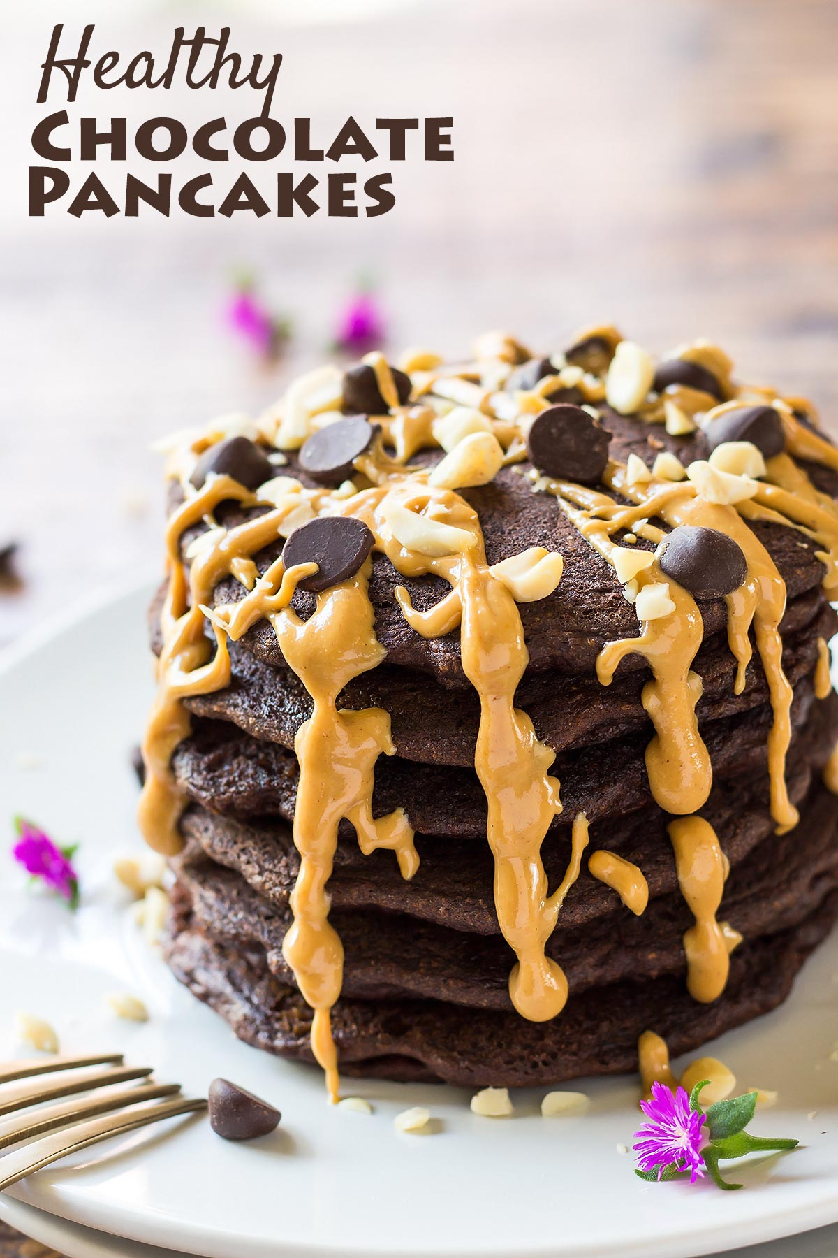 These Healthy Chocolate Pancakes made from coconut flour are a delicious gluten free breakfast treat.