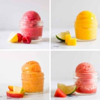 4 Easy Fruit Sorbet Recipes | These easy fruit sorbet recipes are dairy free, refined sugar free, and you don't even need an ice cream maker to make them | A Sweet Pea Chef