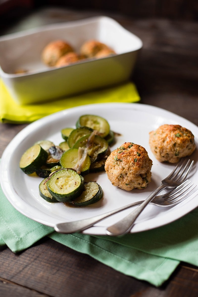 35 Easy Weeknight Dinners - Baked Chicken Meatballs with sauteed Zucchini