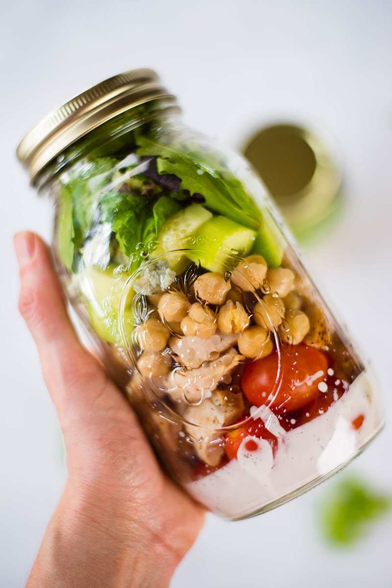 35 Easy Weeknight Dinners - Chicken Cobb Mason Jar Salad