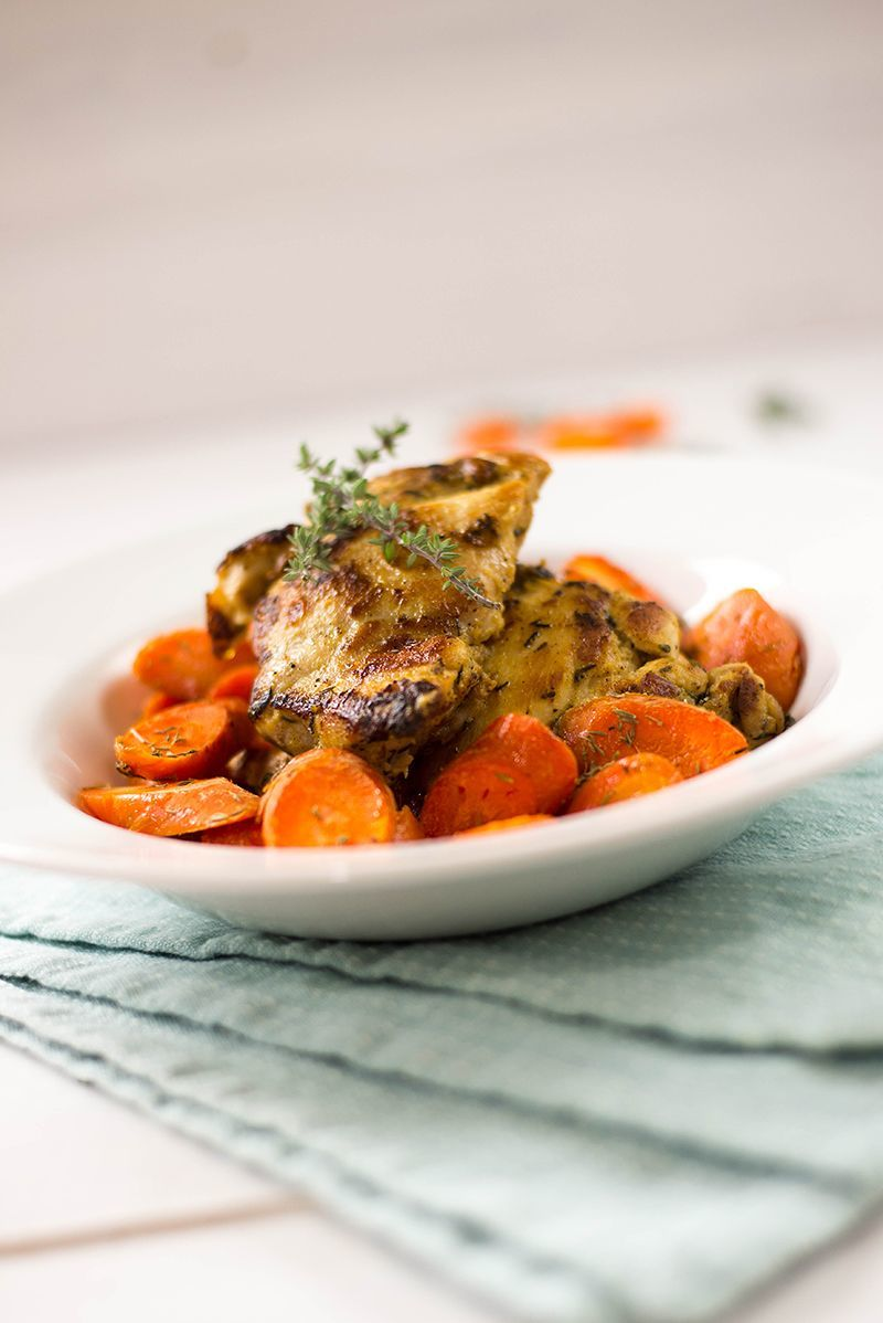 35 Easy Weeknight Dinners - Dijon Roasted Chicken and Carrots