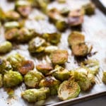 The roasted brussels sprouts are ready to eat and are tender and golden brown.