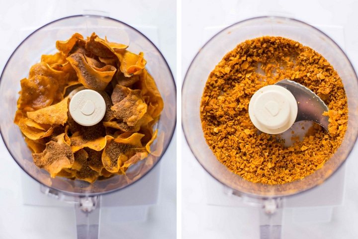 Two images of the food processor, before and after processing the crunchy coating for the sweet potato tots.