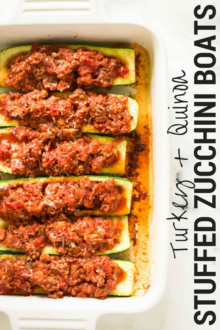 Turkey And Quinoa Stuffed Zucchini Boats | How to make healthy stuffed zucchini boats for a filling, delicious weeknight dinner. | A Sweet Pea Chef #sponsored