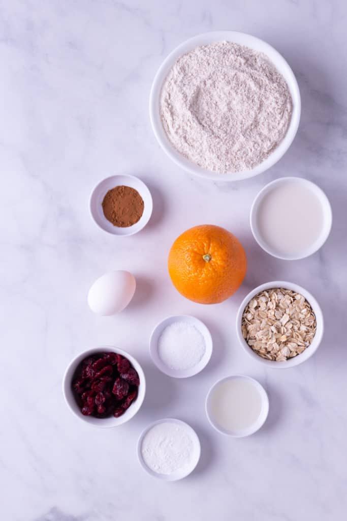 Overhead image of ingredients to make Cranberry Orange Bread, including dried cranberries, oatmeal, flour, almond milk, an egg, orange zest and cinnamon.