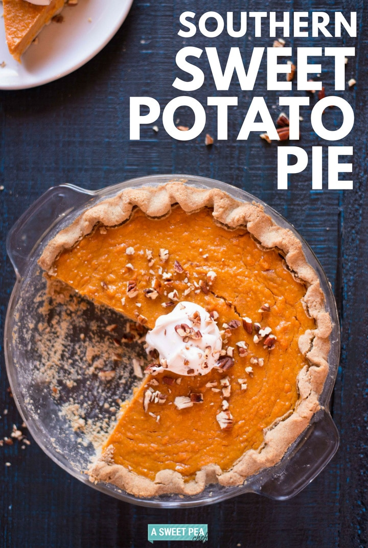 Southern Sweet Potato Pie | Make this homemade southern sweet potato pie using whole, unrefined ingredients this Thanksgiving! | A Sweet Pea Chef