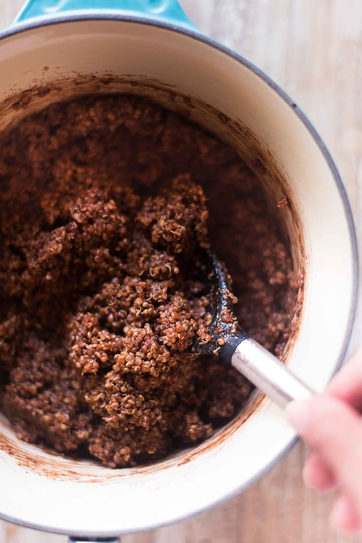 The chocolate quinoa for the Chocolate Quinoa Breakfast Bowl is completely mixed together in the sauce pan and is ready to transfer to a bowl.