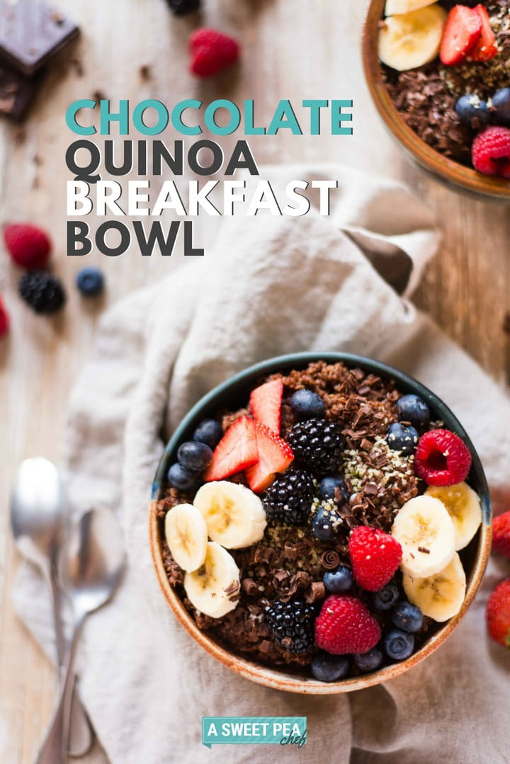 Chocolate Quinoa Breakfast Bowl | This chocolate quinoa breakfast bowl is loaded with protein, fiber, and other nutrients to treat your body right. Plus: chocolate for breakfast rocks! | A Sweet Pea Chef #ad @bobsredmill