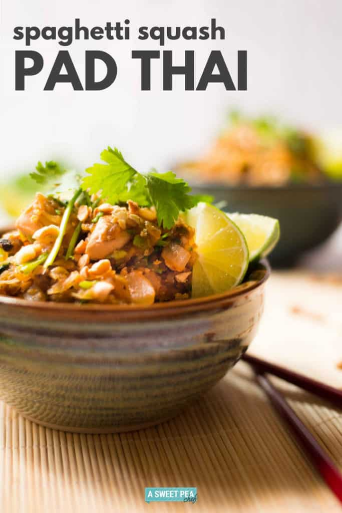 Spaghetti Squash Pad Thai | This spaghetti squash pad thai recipe is a low carb version of chicken pad thai and is so incredibly delicious! | A Sweet Pea Chef