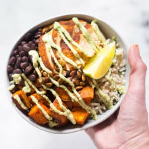 Chicken Protein Bowl with Cashew Lime Crema