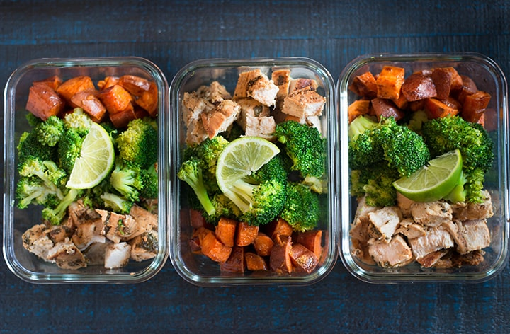 Three prepared meals in a line to show how to arrange the meal prepped chicken for how to meal prep chicken.