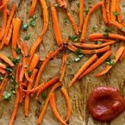 Baked Carrot Fries With Homemade Ketchup | No Sugar!