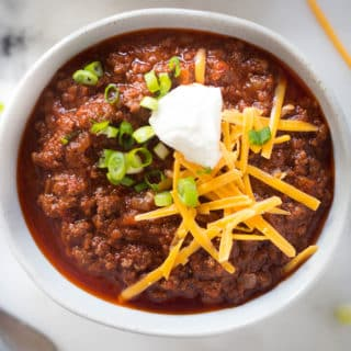 Texas Chili Recipe | Celebrate Texas Independence Day with this easy Texas Chili Recipe, made without beans and using Llano Estacado red wine. | A Sweet Pea Chef #AD