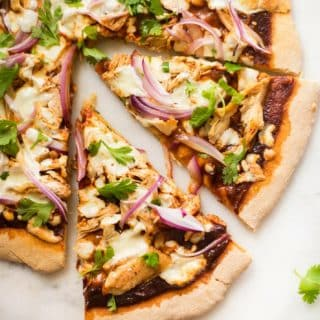 Best BBQ Chicken Pizza | Combine whole wheat pizza crust, homemade clean BBQ sauce, seasoned chicken, and fresh red onions and cilantro for the Best BBQ Chicken Pizza ever! | A Sweet Pea Chef