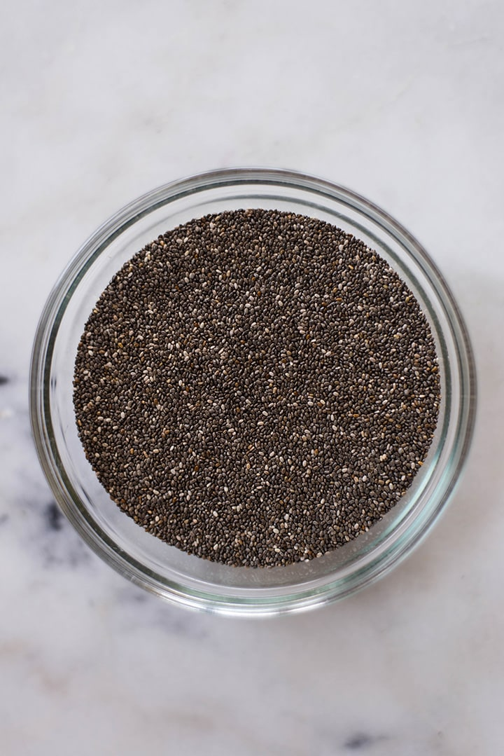 Overhead image of a bowl of chia seeds for using in banana free smoothies.