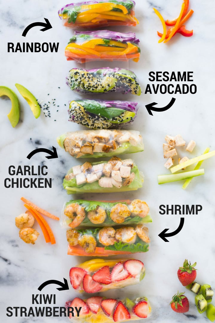 5 Healthy Spring Roll Recipes | Enjoy these 5 different Healthy Spring Roll Recipes from vegetarian, protein packed, and even fruity spring rolls plus how to make a special spring roll dipping sauce for each one – these spring rolls are really fun, fresh, and super easy! | A Sweet Pea Chef