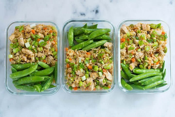 Meal prep chicken cauliflower fried rice for three of the days for the meal plan for weight loss.