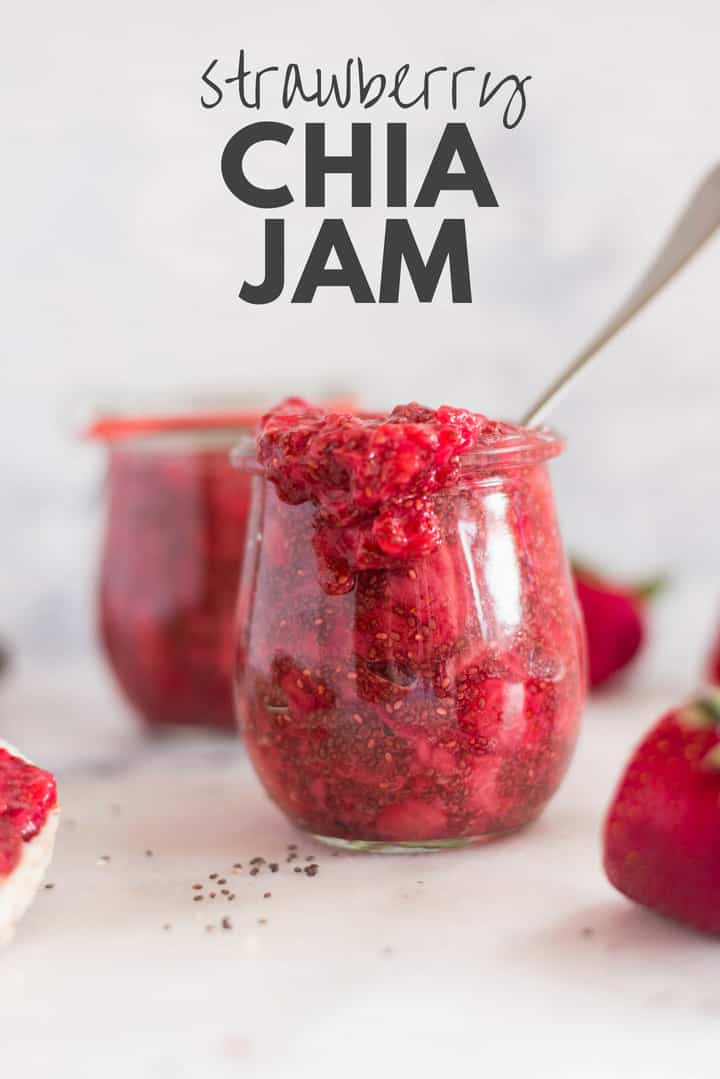 Strawberry Chia Jam | Making homemade strawberry jam has never been easier, only requires 3 ingredients, and no sugar needed.  You will not believe how easy it is to make strawberry chia jam for a healthy jam option! | A Sweet Pea Chef