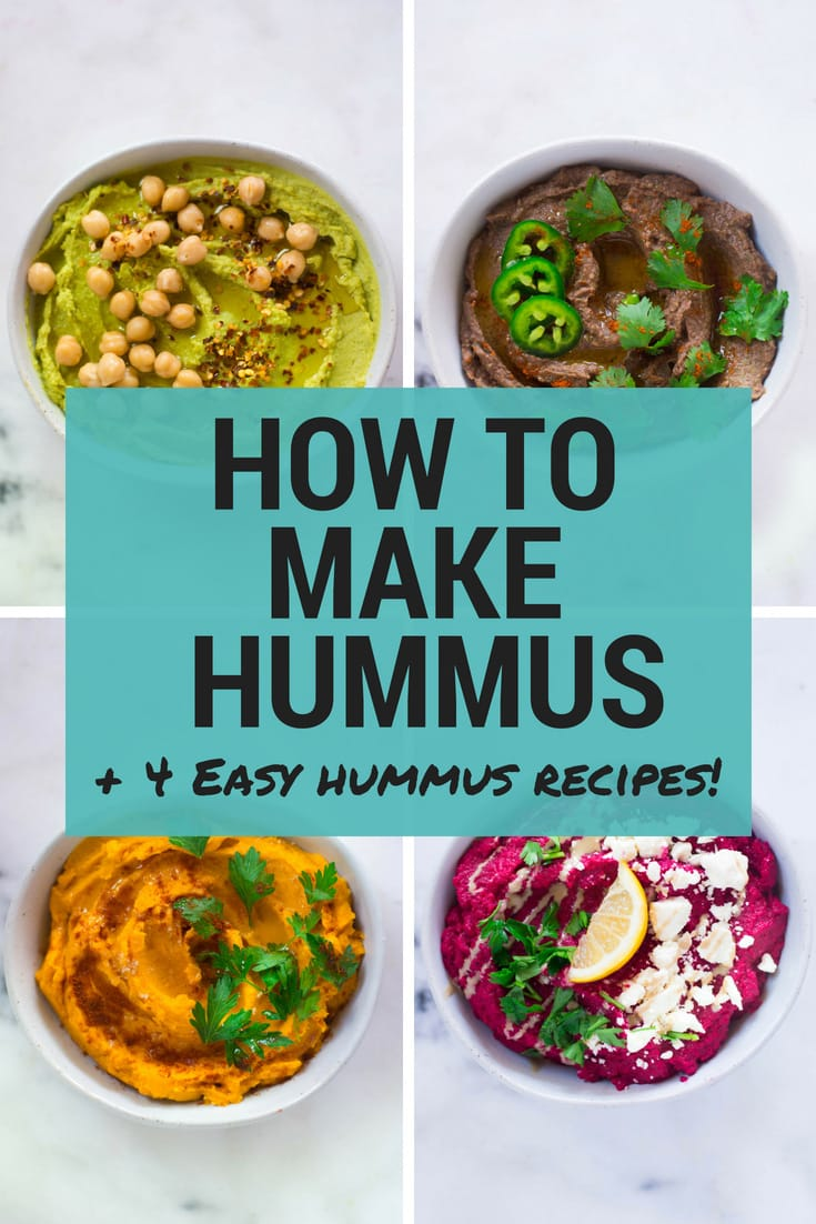 How To Make Hummus + 4 Easy Hummus Recipes   Learn how to make your favorite dip at home with my tips for How To Make Hummus and enjoy 4 Easy Hummus Recipes!   A Sweet Pea Chef