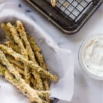 Oven Baked Asparagus Fries | If you're looking for a way to liven up asparagus, this is it, my friends! These Oven Baked Asparagus Fries are a garden-fresh alternative to classic french fries and make a great side dish.  Adding asparagus to your diet has never been easier or yummier! | A Sweet Pea Chef