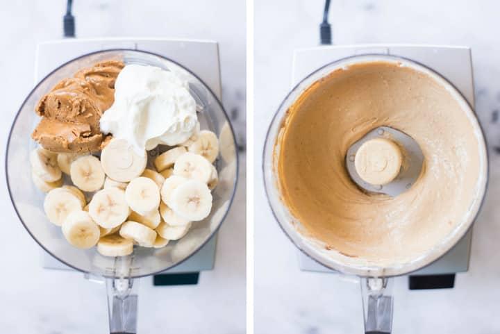 A side by side image of making Peanut Butter Frozen Yogurt in a food processor by combining ripe bananas, full fat greek yogurt, creamy peanut butter and raw honey.