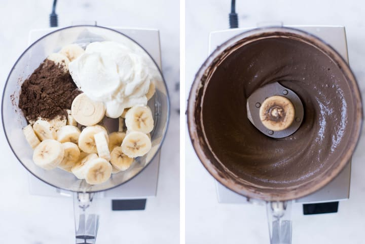 A side by side image of making Chocolate Frozen Yogurt in a food processor by combining ripe bananas, dark cocoa powder, plain greek yogurt and syrup.