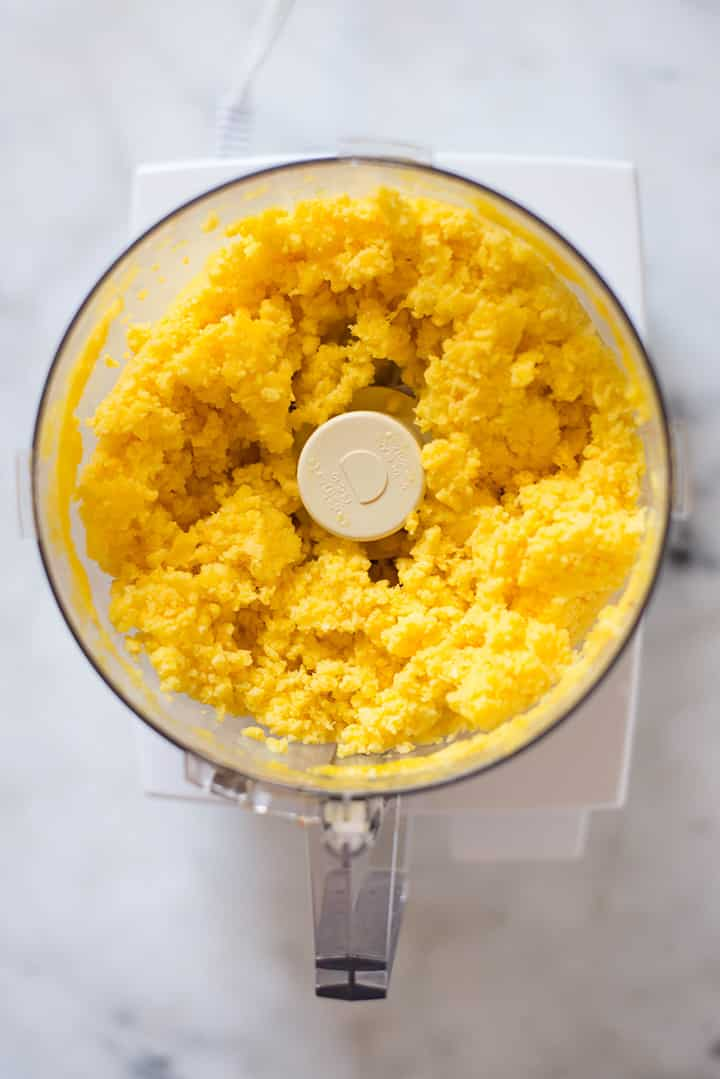 An overhead image of mango puree made from frozen diced mango for the Mango sorbet.